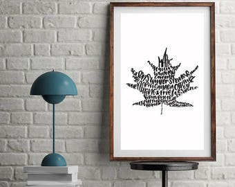 Maple leaf print. Digital art. Wall art. Hand lettered. Canada. Canadian. True north.