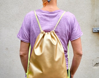 Golden backpack, Gymsack, artificial leather
