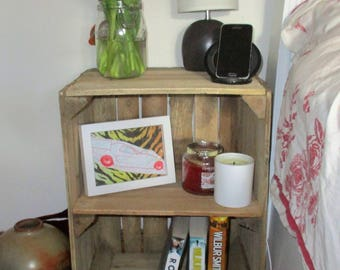 Rustic Bedside Table, night stand, bathroom storage, shelving, Handmade, Shabby chic, Apple Crates