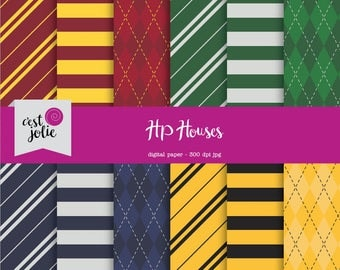 HP Houses - Harry Potter Inspired Digital Paper Pack