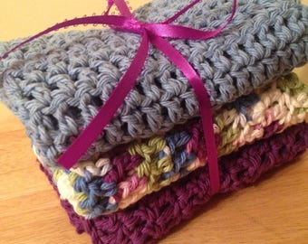 Crocheted Cotton Washcloths Set of 3