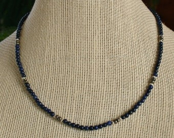 Handmade Necklace - lapis lazuli and pyrite with Thai silver
