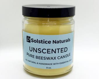 Unscented Hypoallergenic Pure Beeswax Candle in Glass Jar (9 oz)