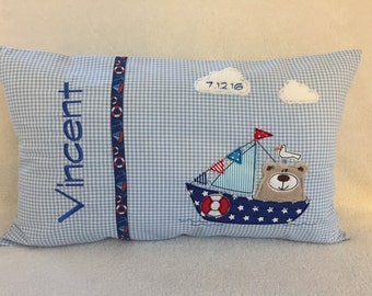 Name cushions with a nautical motif