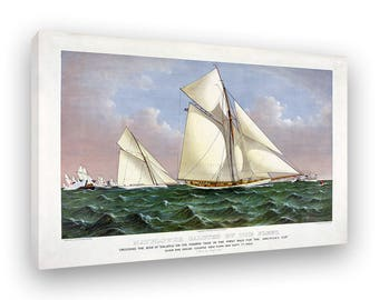 Mayflower Salute, Boat Race, Framed Canvas Print, Vintage Style Art Print, Sailboat, Ships At Sea, America's Cup, Sport Boating, Ocean Race