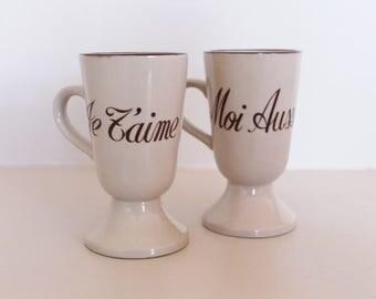 Stoneware mazagrans, beige mugs, brown mazagran, I love you mazagran, vintage mazagran, vintage mug