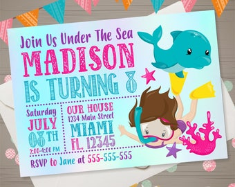 Underwater Birthday Invitation Girl Diving Invitation Under the Sea Invitation Scuba Diver Invite Beach Party Summer Swim Pool Party Dolphin