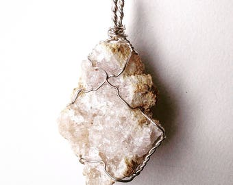 White Druzy Geode Crystal Pendant