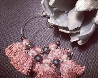 Bohemian earrings PomPoms old rose