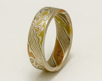 Custom Mokume Gane Ring 14k rose gold, 18k yellow gold and sterling  silver ring - woodgrain pattern