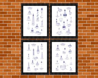 Printable Lighthouse Art, Lighthouse prints, Set of 4 Prints, Lighthouse Blueprints, Nautical Art, Digital Print, 11x14 Prints