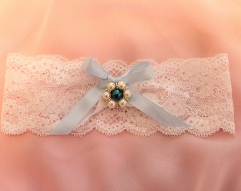 Plus Size Wedding Garter, Toss Garter, Something Blue Garter, Bridal Garter, Lace Garter, Blue Toss Garter