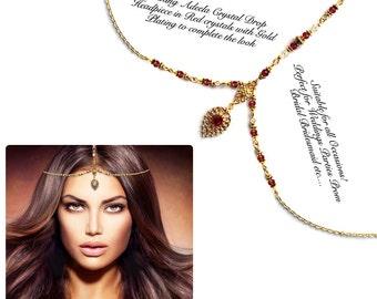 Gold silver red crystal Kundan Indian Jewelry Matha Patti Tikka Head Chain Bollywood Grecian Hijab Jewellery Bridal Hair Piece Wedding