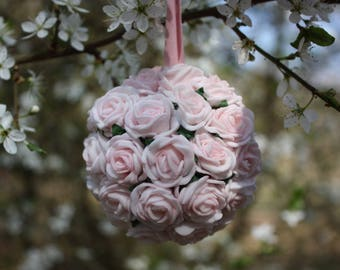 Pink flower ball, Flower decoration, Wedding decoration, Wedding pomander, Hanging decoration, Baby shower decoration, Foam flowers, 7cm