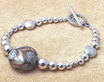 Sterling Silver Bracelet, Lampwork Glass Bead, Toggle Clasp