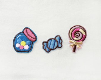 3x candy PATCHES Iron On Embroidered Patch Applique jar bowl blue lollipop sugar sweet girly kawaii cute fun