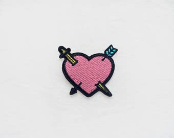 1x pink heart with arrows + sword PATCH - blue yellow pastel girly pop art backpack shirt fashion rock love - Iron On Embroidered Applique