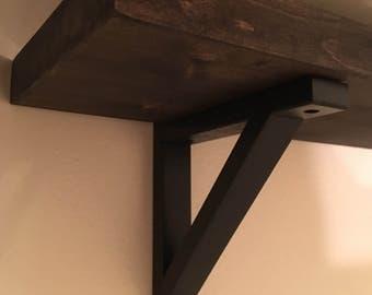 Rustic 2x12 Wood Shelf with Brackets