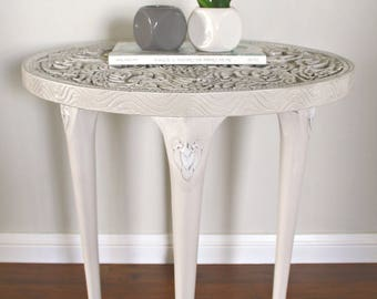 SOLD - Ornate Carved Wooden Side Table