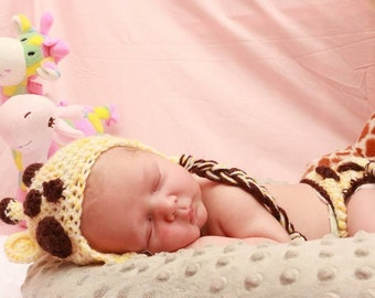 Crochet Giraffe Hat and DIaper Cover Photo Prop/ Made TO Order