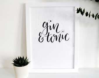 Brush Lettered Typography 'gin & tonic'