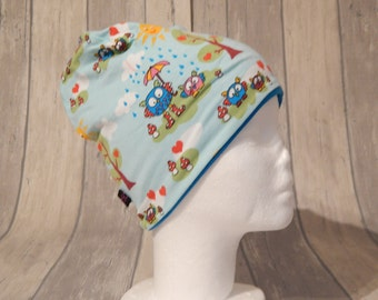 Wendebeanie OWL / turquoise