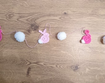 Crochet rabbit bunting garland pom pom pink and white