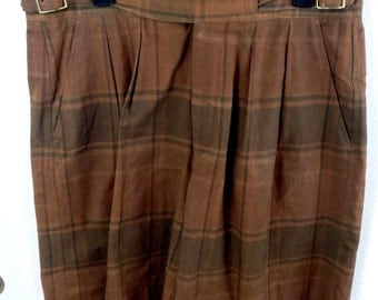 NWT MEN'S Vtg Willis and Geiger Pleated Ghurka Plaid Shorts Size 36 Safari