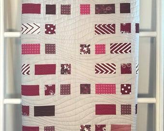 Unique Handmade Quilt, Magenta and Grey Quilt, Lap Quilt, Minky Quilt, Grey Quilt, Quilt for sale, Modern Decor, Bedroom & Living Room Decor