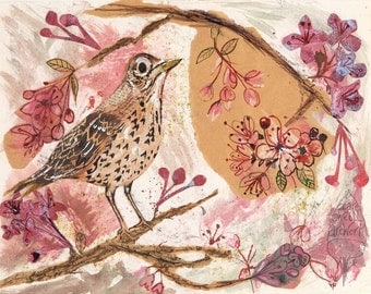 The Song thrush and the Cherry Blossom greeting card