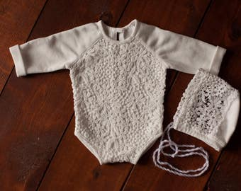 Newborn long sleeve romper (Miroslava) - photography prop -white, one size, baby girl