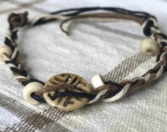 HandMade Hemp Beaded Bracelet with Emblem