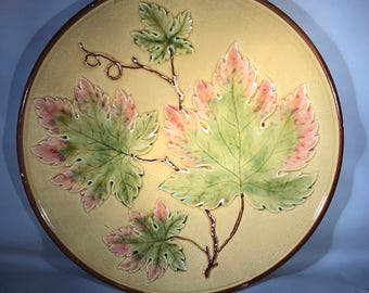 Antique Majolica Pottery Grapeleaf Plate. Zell German Plate
