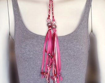 Wrap Braided Leather and Ribbon Tassel Necklace, Pink