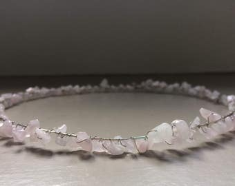 Persephone. Light Pink Natural Stone Crown.