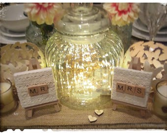 Mr and Mrs Personalised Wedding Place Name Holders, Table Decorations, Wedding Table Decorations, Top Table Decorations, Wedding Centrepiece