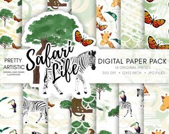 Safari Animals Digital Paper Pack, African Safari Paper, Safari Animals Paper Pack, Jeep Clipart, Animal Clipart Paper Pack, Scrapbook Paper