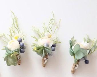 Ranunculus Peony Silk Flower Corsage & Boutonniere // Wedding / Prom / Bridesmaids / Groomsmen