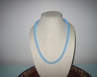 Vintage Blue Necklace Sky Blue Individually Strung Beaded Necklace