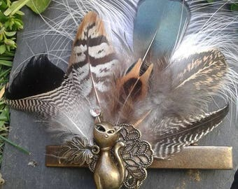 CAT and natural feather Barrette