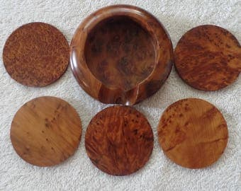 Moroccan Round Shape Kitchen Coasters Handmade With Pure Thuya Wood