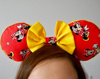 Yellow and Red classic Minnie Mouse Ears | Mickey Mouse Ears |