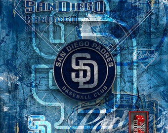 San Diego Padres Layered Poster, San Diego Padres Artwork, Padres Gift for all occasions.
