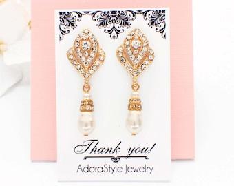 Bridal earrings, pearl wedding earrings, bridesmaid jewelry, pearl drop, crystal bridal earrings, pearl bridesmaid earrings, vintage style