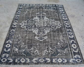Oushak GRAY AREA RUG , Turkish Gray handmade Area Rug - 5.7 x 8.1 ft