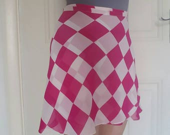 Pink check chiffon ballet skirt