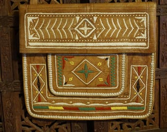 Vintage embroidered leather foldover flap purse