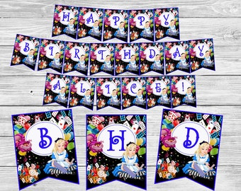 Alice in Wonderland banner Alice in wonderland birthday decorations Garland banner Birthday outfit Birthday banner Party supplies Party flag