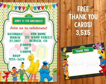 Sesame Street birthday invitation + Thank you Sesame Street Invite Sesame street party Cookie monster Elmo invitation Sesame invitation card