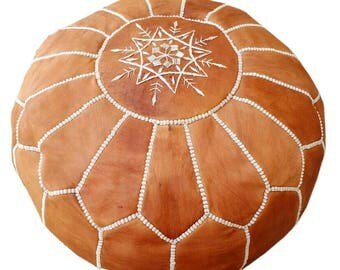 Free Expedited Shipping Moroccan Pouf Unstuffed Tan Authentic Handmade Genuine Leather Ottoman Pouffe Footstool